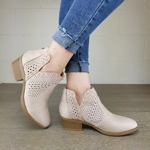 Dusty Rose Perforated Cut Ankle Booties-  B1